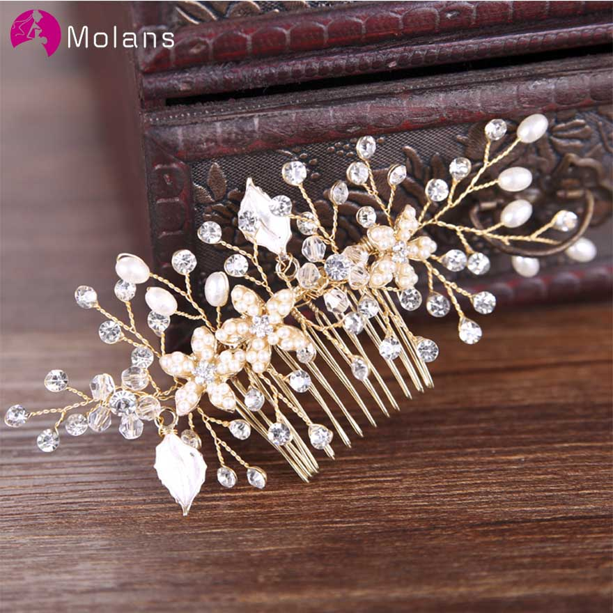 MOLANS Bridal Tiara Pearl Wedding Jewelry Accessories Hot Headwear Wedding Decoration Photography Props
