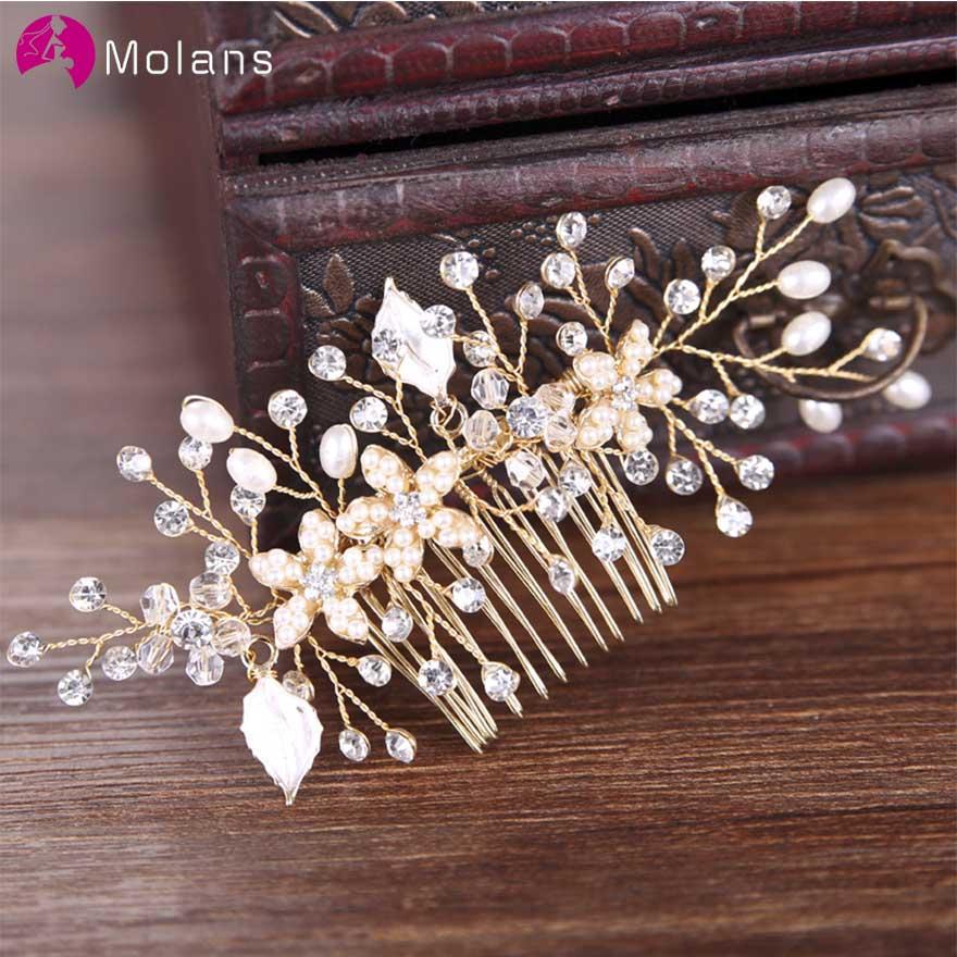 MOLANS Bridal Tiara Pearl Wedding Jewelry Accessories Hot Headwear Wedding Decoration Photography Props