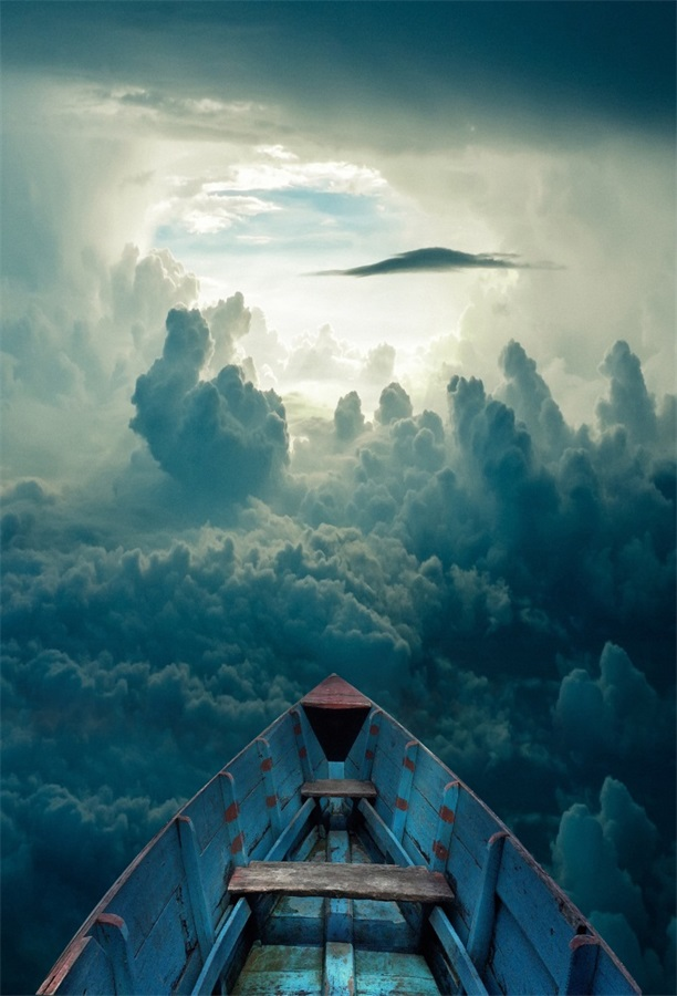 Laeacco Fantasy Flying Boat Dark Cloudy Sky Photography