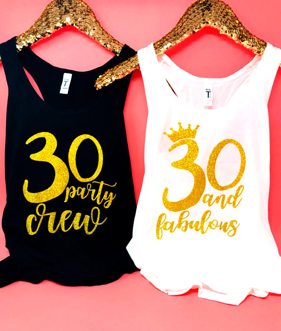 Personalized NUMBER 30 and Fabulous BIRTHDAY party girls t shirts  Bachelorette tanks tops gifts bridal vests party favors -in Party Favors  from Home ... 78bb8da68cd5