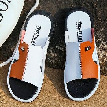 Hot Sandals Men Summer Slippers 2019 Fashion Peep Toe PU Flip Flops Shoes Male Outdoor Non-slip Flat Beach Slides Big Size 38-46 1
