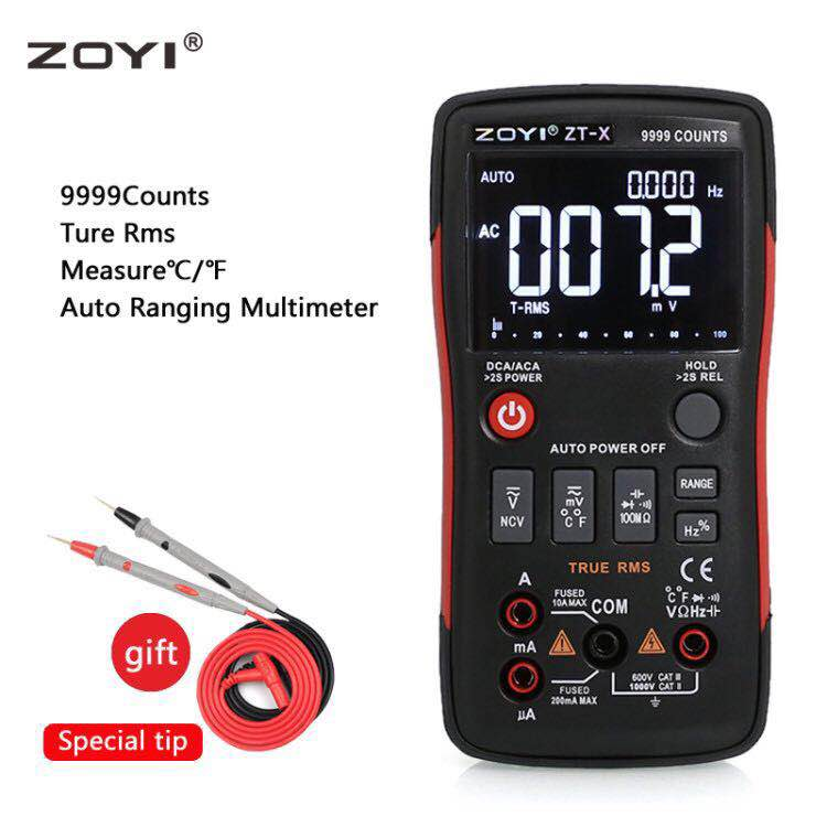 Digital Multimeter ZT X 9999Counts Analog Bar Graph Voltage Current Capacitance Temperature Aotu Range small Multi