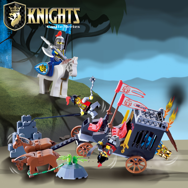 Enlighten Castle Educational Building Blocks Toys For Children Kids Gifts Horse Knight King Compatible With Legoe kids educational toys 102pcs set sweeper model assembly building blocks kit enlighten puzzle toy children birthday gifts