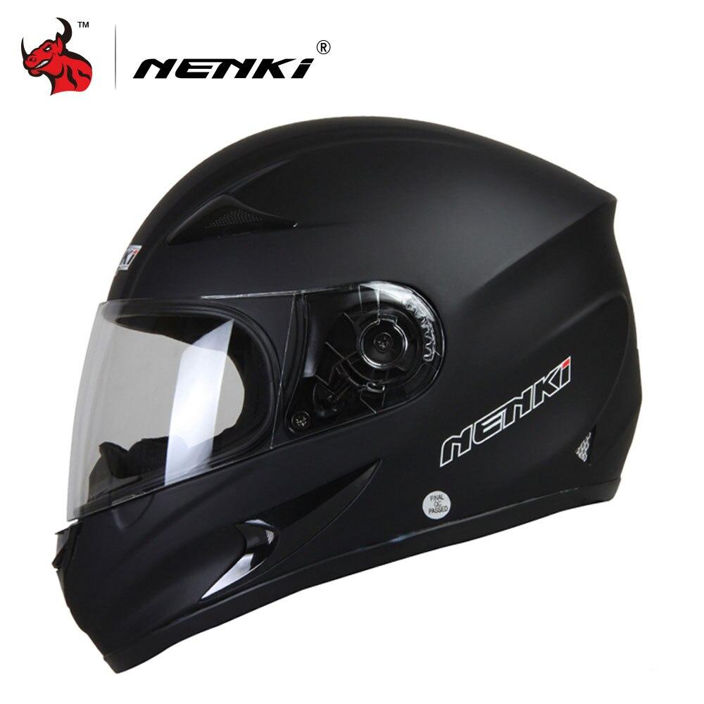 Мотоциклетный шлем NENKI шлем черный мото полный уход за кожей лица Ретро скутер шлемы мотоциклетные для верховой езды для мужчин Мотокросс ...