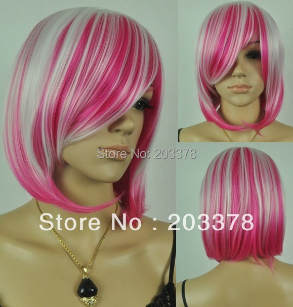 Capless Bob straight Synthetic White and rose red mixed Party cosplay Wig 10pcs/lot mix order free shipping