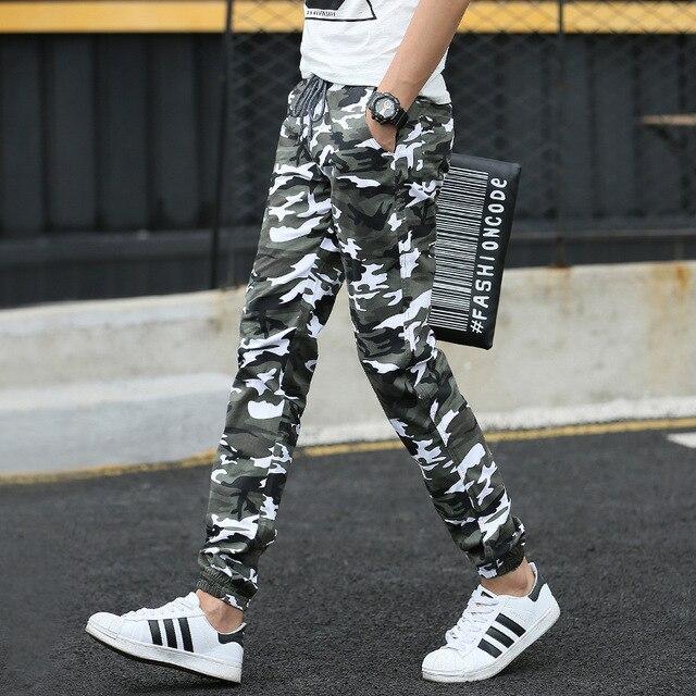 2016 Осень мужские Хлопчатобумажные Камуфляж Шнуровка лодыжки объединились брюки молодежи прямой ногой slim fit мужской Моды брюки