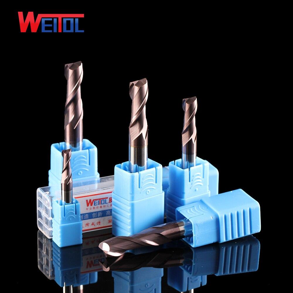 Weitol 1 pcs HRC55 Bronze revêtement carbure de tungstène deux flûtes fond plat fin fraise CNC routeur peu pour le métal