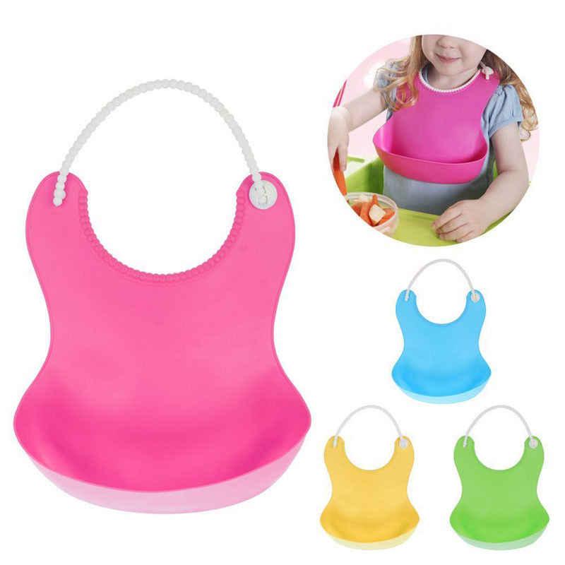 2018 marca nueva suave lavable silicona BabyBibs comiendo delantal ajustable bolsillo receptor de alimentos de silicona bebé Baberos