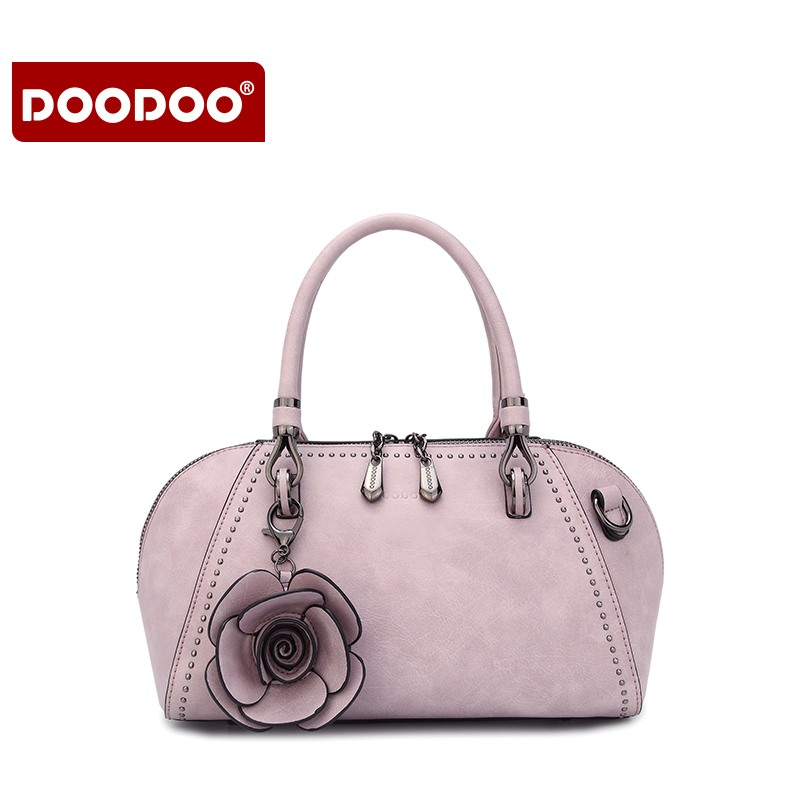 DOODOO Fashion Women Floral Rose Tote Bag Handbags Ladies Shoulder Bag Scrub Messenger Bag Female Crossbody Purse
