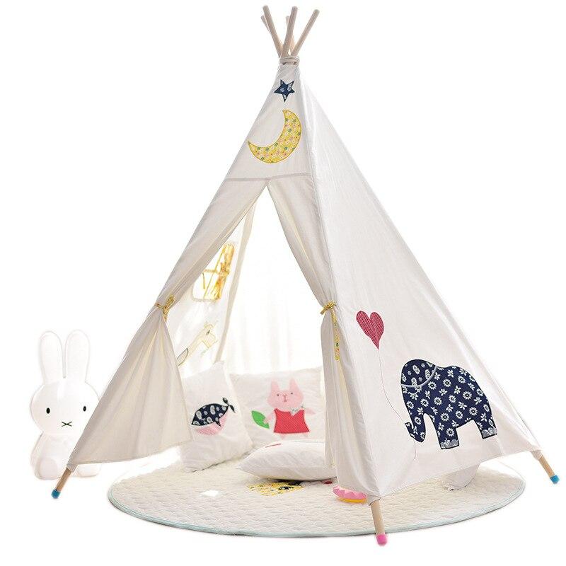 Cinq pôles enfants grande tente de jeu indien enfants tente toile de coton tipi enfants jouet tente Playhouse pour chambre de bébé