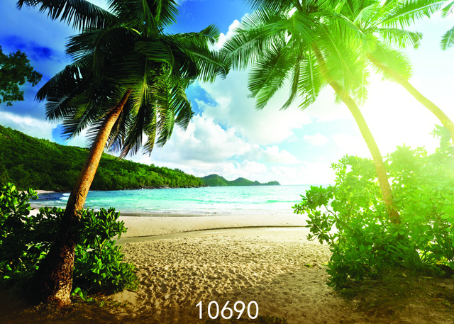 coconut palm tree on sandy beach backgrounds for sale portrait cloth
