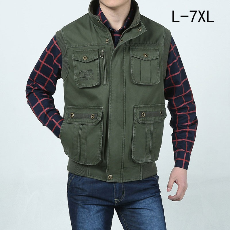 L~7XL 2016 Autumn Spring Brand Clothing Cargo Outdoor Vest Overcoats Men Casual Cotton New Plus Size Sleeveless Jackets Vests (1)