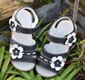 Girls sandals genuine leather   open toe flowers summer new arrival black student shoes kids school sandals uniform