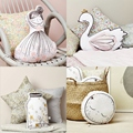 Cartoon Wishing Bottle Little Girl Swan Baby Cushion Pillow With Music Room Bed Decorative Dolls Nordic Kids Gifts Photo Props