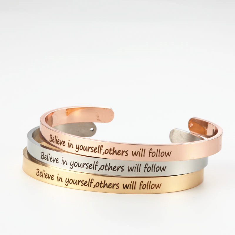 Fashion Engraved Believe in yourself, others will follow Positive Inspirational Quote Cuff Mantra Bracelet For Men Jewelry