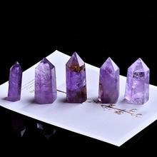 1 шт. натуральные кристаллы аметиста точечный минеральный орнамент исцеляющая палочка украшение для дома Декорации для Кабинета DIY подарки