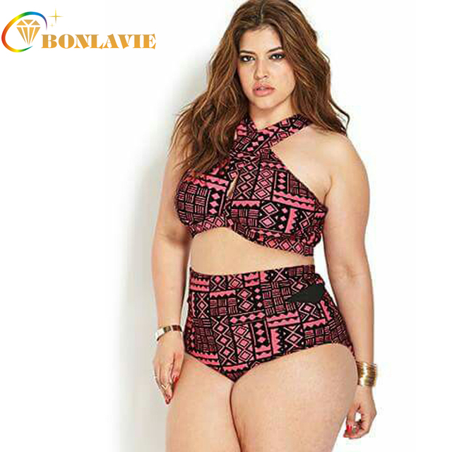 c6ea1317f482e Girls Sexy Bikini Sets Plus Size Ladies Beachwear Bandage High Waist Bikini  2017 Fat Women Swimwear Swimsuit Large Size 4XL