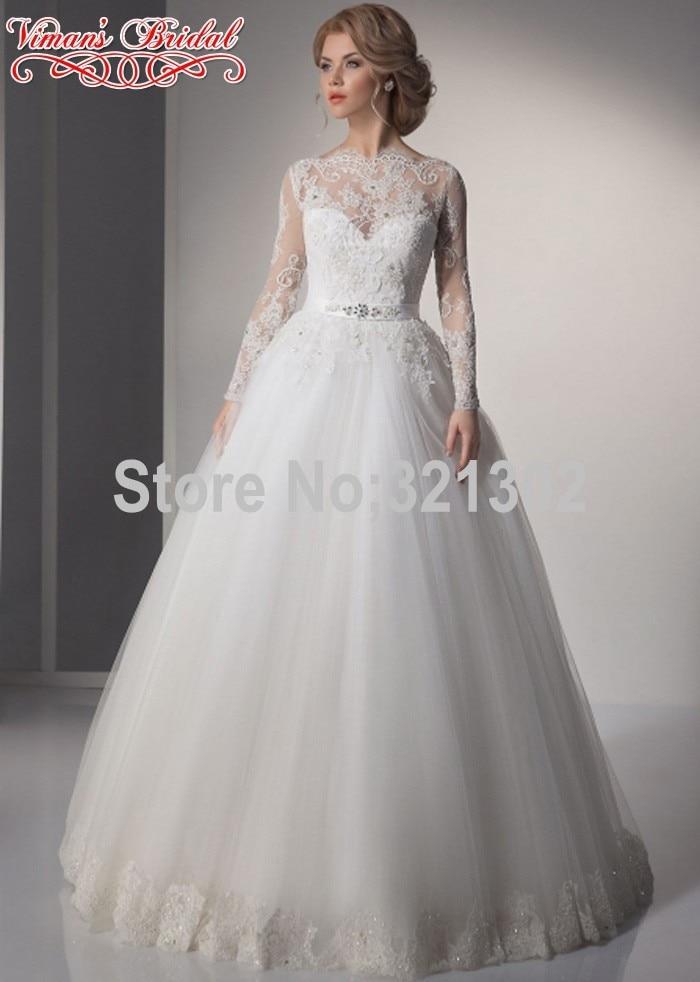 Brazil Retail Wedding Dress 2015 Button Full Sleeve Netting Boat ...