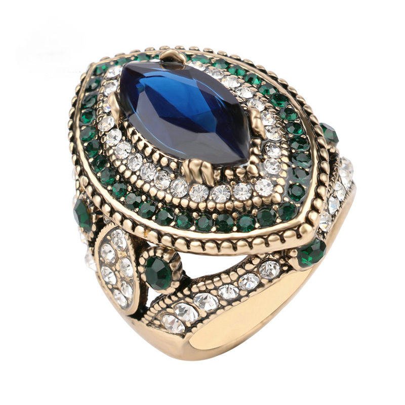 luxury big turkish ring vintage wedding rings for women gold color mosaic green crystal engagement party jewelry new anillo in rings from jewelry - Turkish Wedding Ring