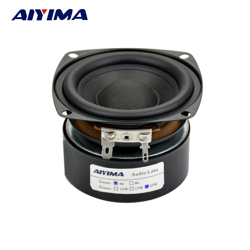 "Aiyima 1PC 3"" inch 25W Hi-Fi Subwoofer Speaker WooferAudio Bass Loudspeaker 4ohm / 8ohm - Square"
