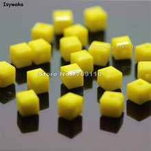 Isywaka Cube 2mm 3mm 4mm 6mm 8mm Solid Yellow Color Square Austria Crystal Beads Glass Bead Loose Spacer Bead DIY Jewelry Making