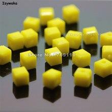 Isywaka Cube 2 мм 3 мм 4 мм 6 мм 8 мм из плотной ткани желтого цвета Цвет квадратный Австрия хрустальные бусины Стекло свободный разделитель Бисер би...