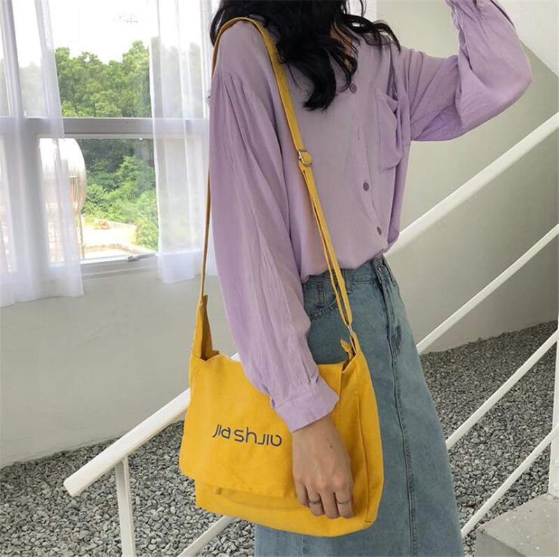 Solid Canvas Shoulder Bags Environmental Canvas Shopping Bag Beach Handbag Tote Package Crossbody Women