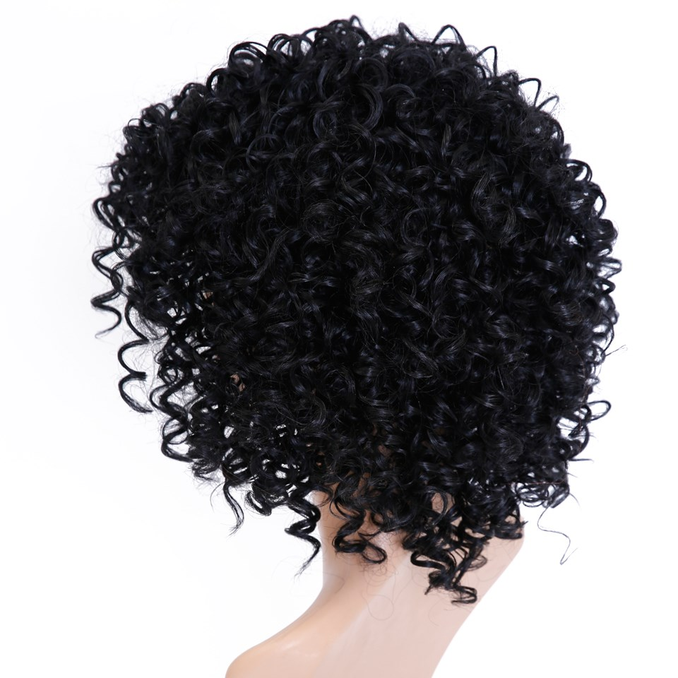 DIFEI Short Curly Hair Heat-Resistant Fiber Short Hair Cospaly Wig Hair Clip Extension Suitable For All Women