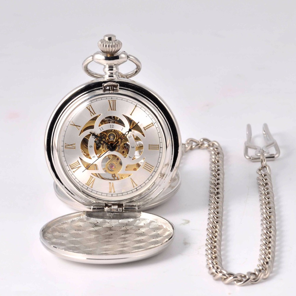 Pocket Watch Rome Hollow Golden Dial Pedant Watch Mechanical Classic Hand Wind Fob Watch Quality Fashion Gift Pocket Watch