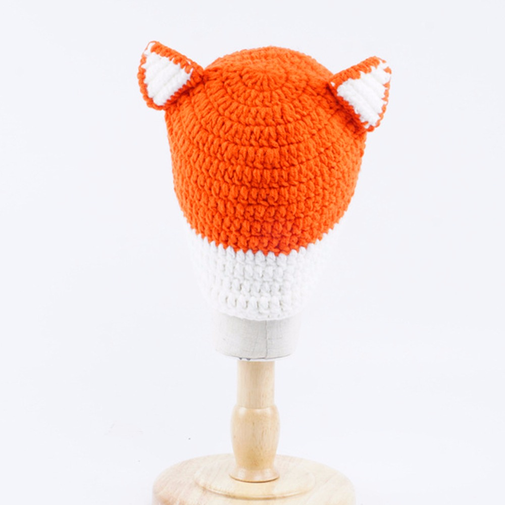 Handmade Crochet Baby Fox Hat Baby Winter Hat Winter Wool Knitted Pattern  Hats Baby Girls Hooded Caps Baby Photography Props-in Skullies   Beanies  from ... 5b441ae78d46