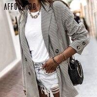 Affogatoo Elegant vintage double breasted houndstooth plaid blazer Casual long sleeve office lady blazer Autumn coat women 2018