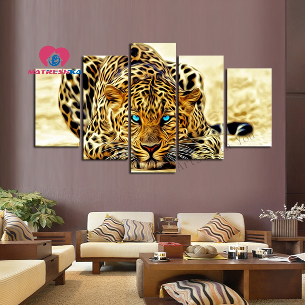 Diamond embroidery animals leopard painting triptych Painting rhinestones diamond needlework Home decorations triptych Kraft