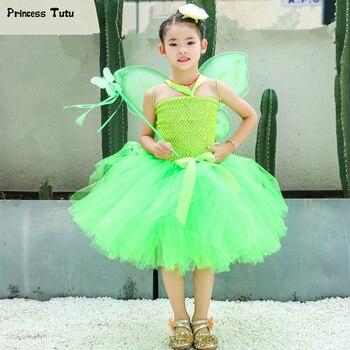 761d44207 Tinker Bell niñas tutú vestido princesa verde Tinkerbell Hada vestido niños  disfraces de fantasía para niñas niños cumpleaños fiesta vestido