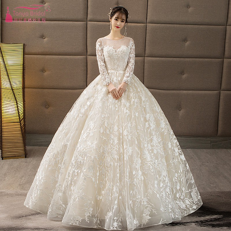 Long Sleeve Lace Ball Gown Wedding Dresses Lace Up vestido de noiva V Back Wedding Bridal Gown DQG691
