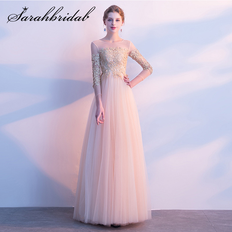 Elegant Evening Dress Long 2019 Floor Length Lace Applique Customize Style Three Quarter Sleeves Prom Party Dresses CC3100