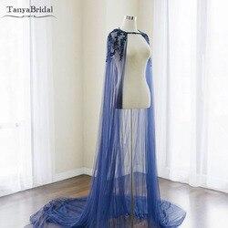 سترة طويلة رسمية للنساء أنيقة من التول الأزرق لحفلات الزفاف مزينة باللؤلؤ المزيّن بالخرز DJ010