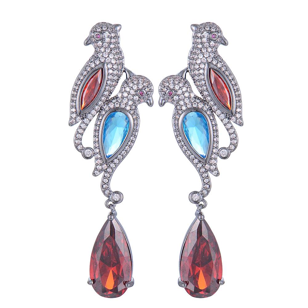 SisCathy Luxury Popular Full Mirco Paved Cubic Zirconia Crystal Earrings Fashion Jewelry Birds Waterdrop Earrings for Women in Drop Earrings from Jewelry Accessories