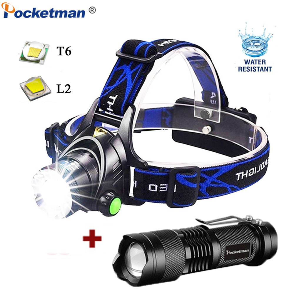 Rechargeable Headlamp T6/L2 Zoom Headlight Waterproof Head Lamp Torch Flashlight Head Lamp Use 2*18650 Battery