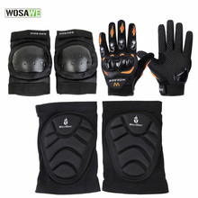 WOSAWE 6Pcs/Set Elbow & Knee Pads MTB Bike Cycling Protection Set Dancing Brace Support Downhill Tape Motorcycle Gloves