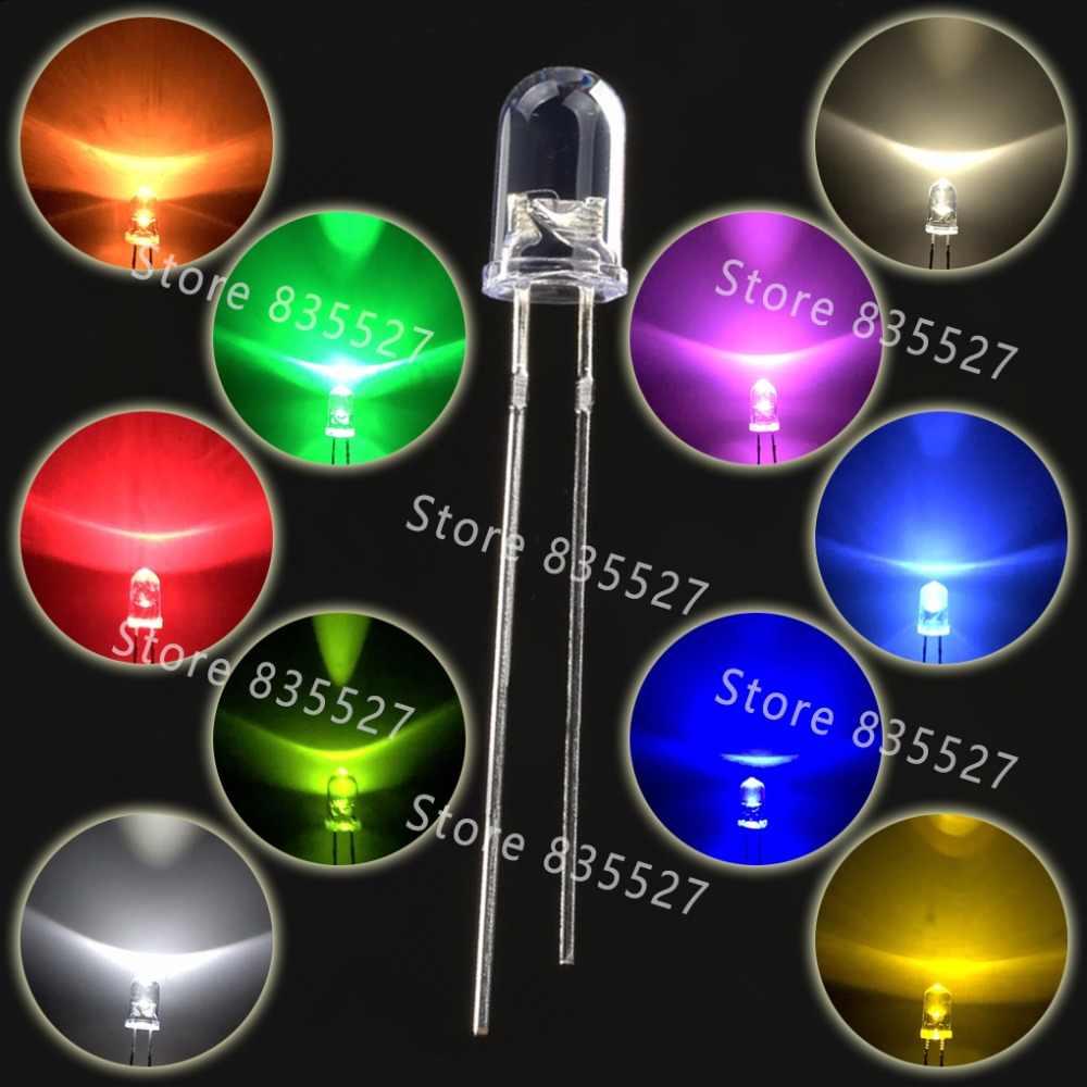 1000 قطعة/الوحدة F5 5 مللي متر مصابيح LED مستديرة المياه و واضح الأبيض مصباح LED فائق السطوع صمام ثنائي باعث للضوء عدة DIP حبيبات مصباح مستديرة متفاوتة الأحجام