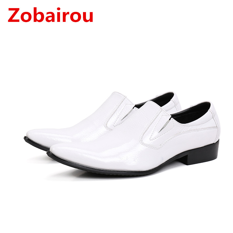 Zobairou patent leather shoes for men slip on loafers sapato masculino social mens oxfords Classic formal italian shoes men pointed metal toe mens shoes formal design patchwork men leather shoes with crystal hoops spring autumn sapato masculino social