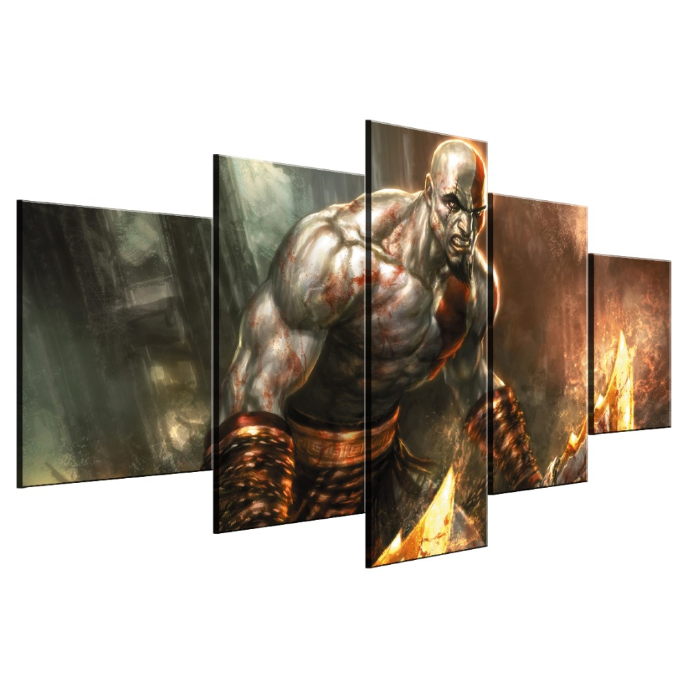 5 Piece HD Print Large God Of War Game Cuadros Decoracion Paintings on Canvas Wall Art for Home Decorations Wall Decor Artwork in Painting Calligraphy from Home Garden