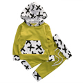 2PCS Newborn Baby Boy Girl Clothes Cute Long Sleeve Cross Warm Hooded Sweatshirt+Long Belt Pants Baby Clothes Baby Clothing Set