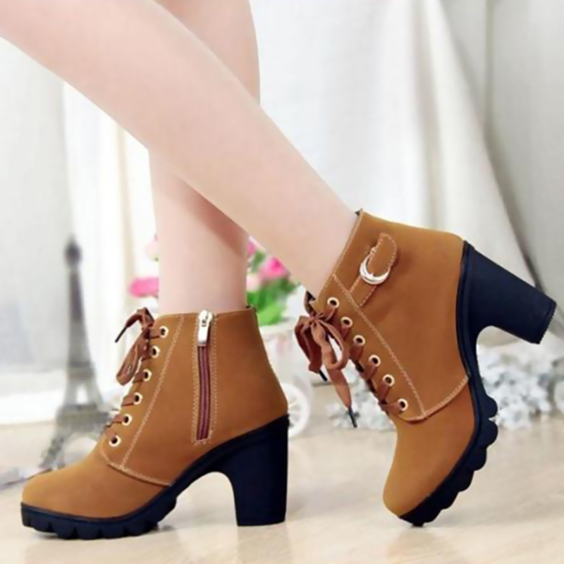 HEE GRAND Autumn Women Boots Solid Lace Up High Heel Boots Woman ...