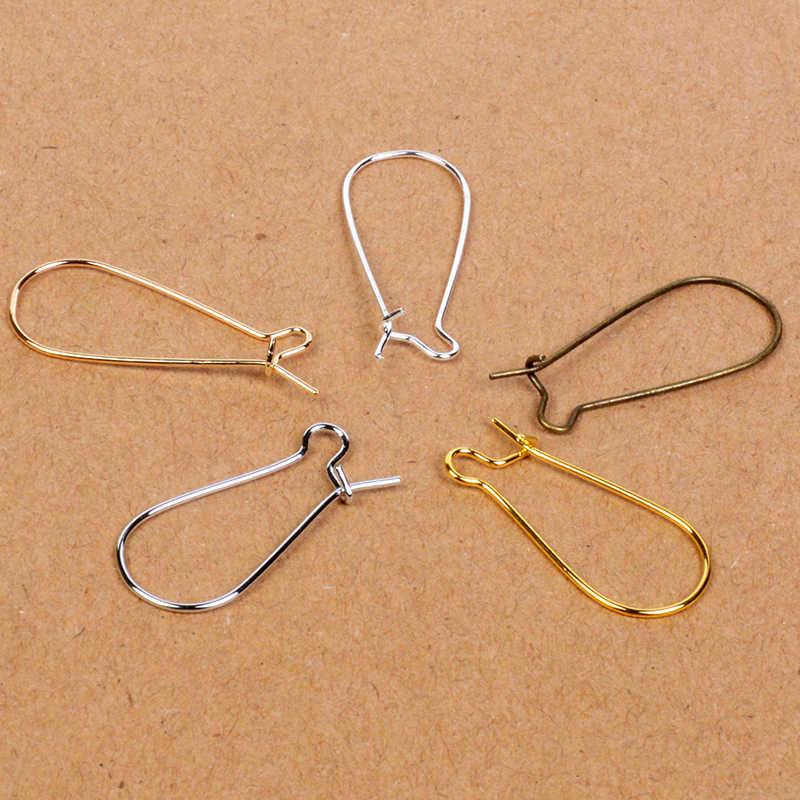 100pcs/lot 24x11mm Gold Silver Color French Style Kidney Ear Wire Earring Hook Findings for DIY Handmade Earring Jewelry Making