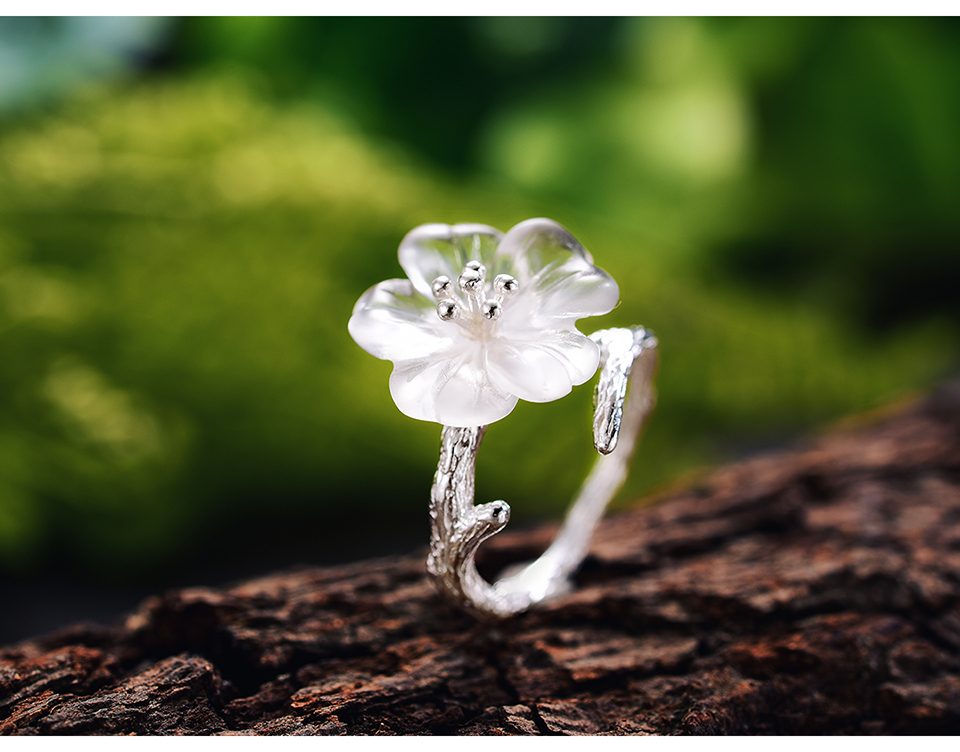 Lotus Fun 925 Sterling Silver Natural Handmade Ring for Women