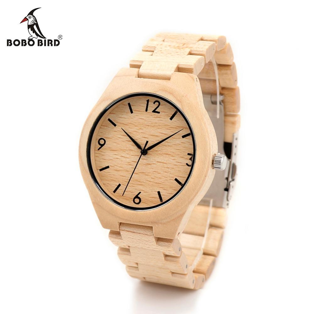 Prix pour Bobo bird h01 de noël saison cadeau conception pour anniversaire édition série de montres en bois d'érable pin en bois quartz montre oem
