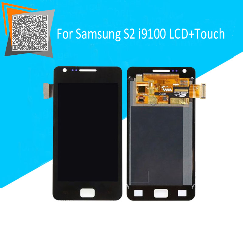 100 Tested Original For Samsung Galaxy S2 i9100 LCD Display Touch Screen Assembly Black White Replacement