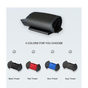 Image 5 - El dikişli siyah PU suni deri araba direksiyon kılıfı Toyota RAV4 Celica Matrix MR2 Supra Voltz Caldina MR S