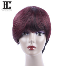 HC Hair Straight Brazilian Hair 10 Inch Non-Remy None Lace Wig 1b/99j Burgundy Short Bob Human Hair Wigs For Black Women